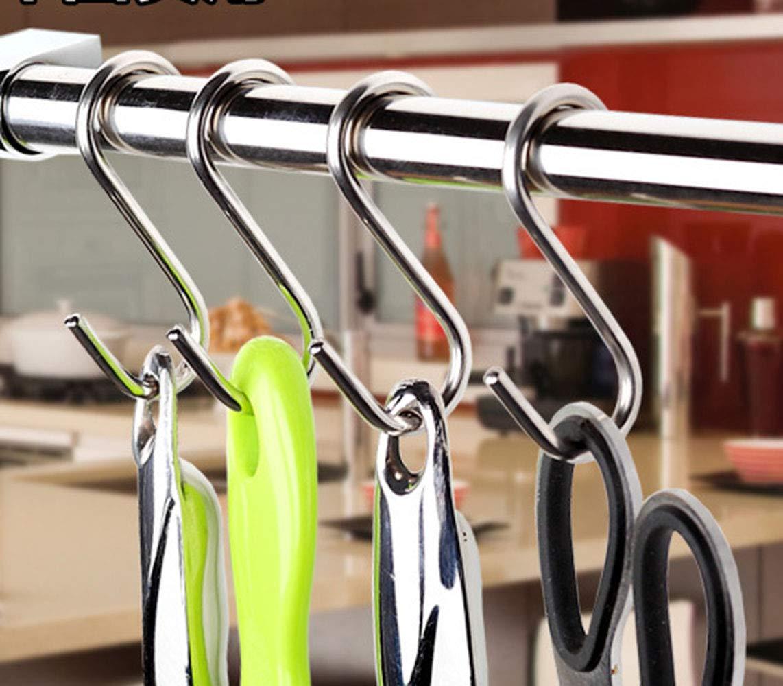 YUEMING S Ganchos en Acero Inoxidable,S en forma de gancho colgante de perchas de metal de acero inoxidable para el gabinete de la cocina Oficina del dormitorio del ba/ño