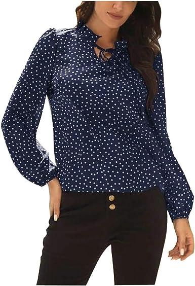 beautyjourney Blusa Elegante de Lunares para Mujer Camiseta Túnica de Manga Larga Delgada Sudadera Casual Suelta Camisetas Básicas: Amazon.es: Ropa y accesorios
