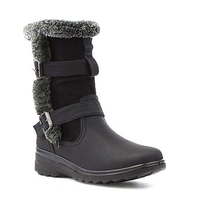dd6fc057839a1 Cushion Walk Womens Black Faux Fur Casual Boot