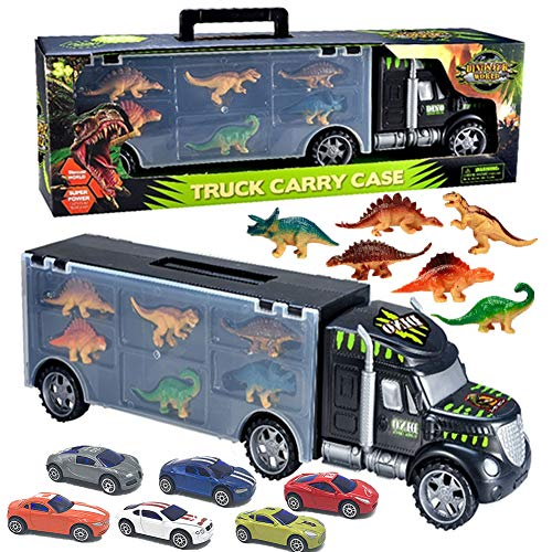 Transport Car Carrier Dinosaurs Truck Toy with 6 Metal Racing Cars Tractor Trailer Vehicles Gift for Boys Girls Kids Toddlers ()