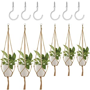 6 Pack Plant Hanger, DanziX Flower Pot Plant Holder with Ceiling Hooks for Indoor Outdoor Decorations Office Gardening, Malls, Garden Nursery Production Hanging Pots- 4 Legs