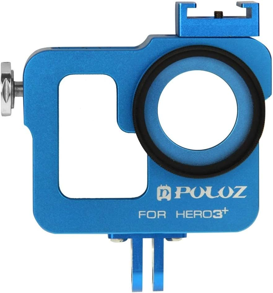 Color : Blue Housing Shell CNC Aluminum Alloy Protective Cage with 37mm UV Lens Filter /& Lens Cap for GoPro HERO3 //3 Durable
