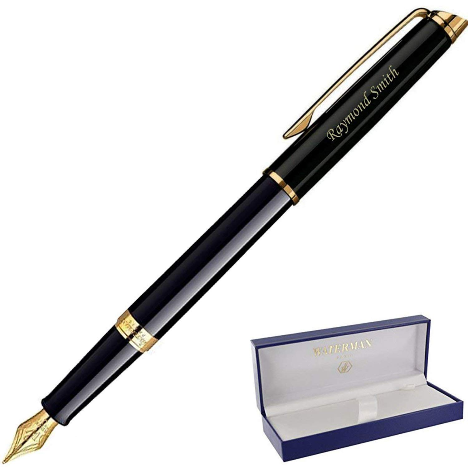 Dayspring Pens | Personalized WATERMAN Hemisphere Fountain Pen Medium Nib - Black. Custom Engraved Fast, with Waterman pen gift case and starter ink. by Dayspring Pens (Image #1)