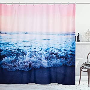 RoomTalks Ocean Fabric Shower Curtain, Tropical Hawaiian Seaside Sunset Turquoise Weaves Coastal Bathroom Shower Curtain Sets Decorative Beach Theme Bath Curtains for Shower (72 x 72, Turquoise)
