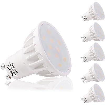 LOHAS® 5 x 6W GU10 Bombilla LED, Lámparas Halógenas Equivalentes a 50W, Blanco Calído, 3000K, 500lm, Angulo de haz de 120°, 110-240V, No regulable