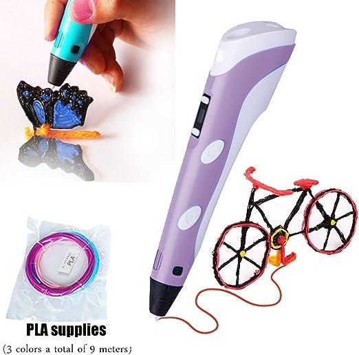 Pluma de dibujo 3D para niños con 9 M de largo 3 colores PLA ...