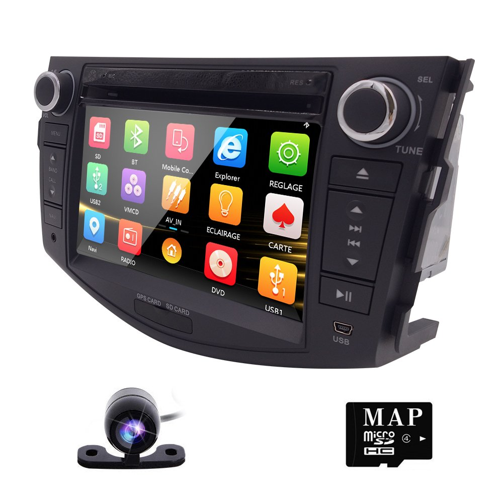 In Dash Car DVD Player GPS Navigation Radio BT Stereo For Toyota RAV4 2006-2012 Reverse Camera