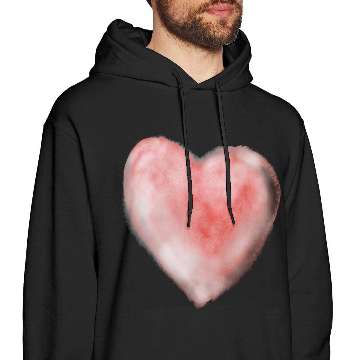 PCLOUD Men Cartoon Heart Warmth Black Hoodie Sweatshirt Jacket Pullover Tops