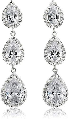 Fashion Women Rhinestone Crystal 925 Silver Plated Ear Stud Drop Dangle Earrings