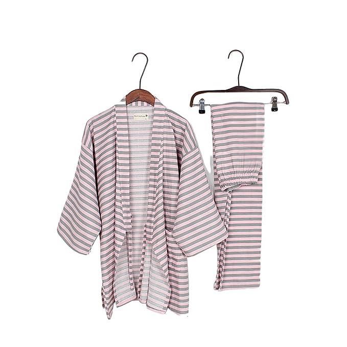 Trajes de estilo japonés para hombre Traje de pijama de puro algodón Kimono Traje Set-