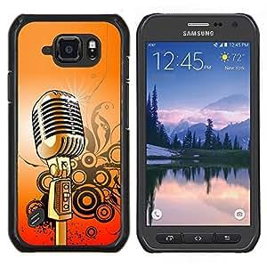 """Be-Star Único Patrón Plástico Duro Fundas Cover Cubre Hard Case Cover Para Samsung Galaxy S6 active / SM-G890 (NOT S6) ( Micrófono Música Canto retro"""" )"""