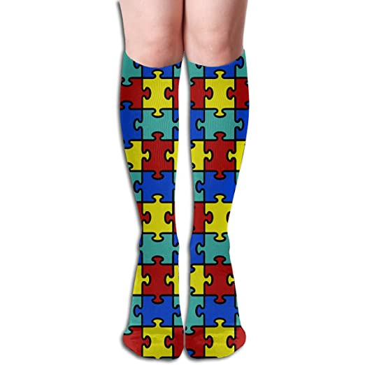 50a25b714f2f5 Colorful Autism Awareness Puzzle Casual Unisex The Knee Long Socks Tube  Thigh-High Sock Sport Athletic Crew Socks One Size at Amazon Women's  Clothing store: