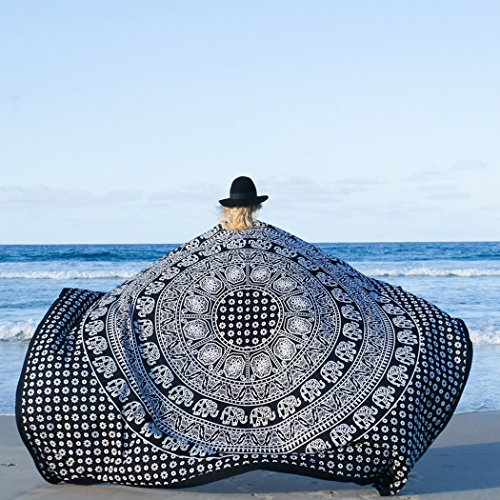 Led Zeppelin Beach Towel (FLY SPRAY Indian Mandala Large Square Beach Throw Tapestry Lightweight Polygon Hippy Boho Gypsy Tablecloth Turban Blanket Shawl Psychedelic Yoga Mat Black & White (80x58inches))