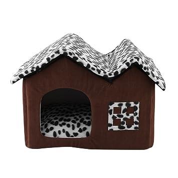 Hongyans Moda Doble Techo Casa de Mascotas Portátil Cálido Cómodo Perro Gatos Perrera Material Suave Grande