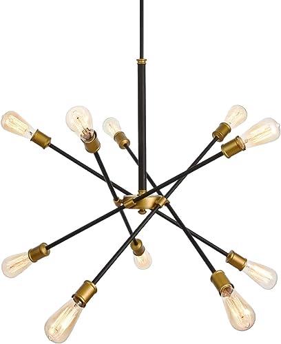 SEOL-LIGHT Sputnik 10 Lights Vintage Chandelier Hanging Ceiling Large Bright Pendant Light Fixtures Black Gold Brushed for Dining Room,Foyer,Entryway 600W