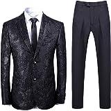 Men 2 Piece Suit Set Dress Floral Jacket Flat Collar Slim Fit Blazer Jacket Pants