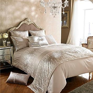 Kylie Minogue Jessa Blush lentejuelas satén doble hilos algodón 7 piezas Juego de cama