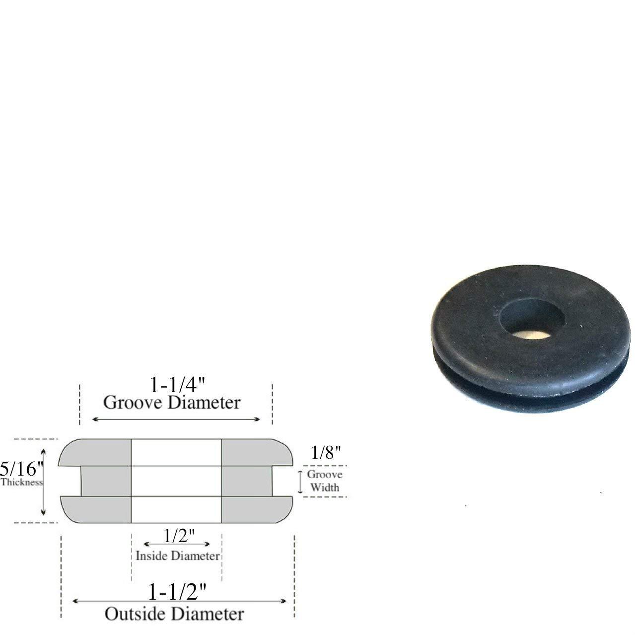 Lot of (25) 1/2'' Inside Diameter Rubber Grommets - 1/8 GW - Fits 1-1/4'' Panel Hole