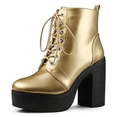 Allegra K Women's Platform Chunky High Heel Lace Up Combat Boots | Ankle & Bootie