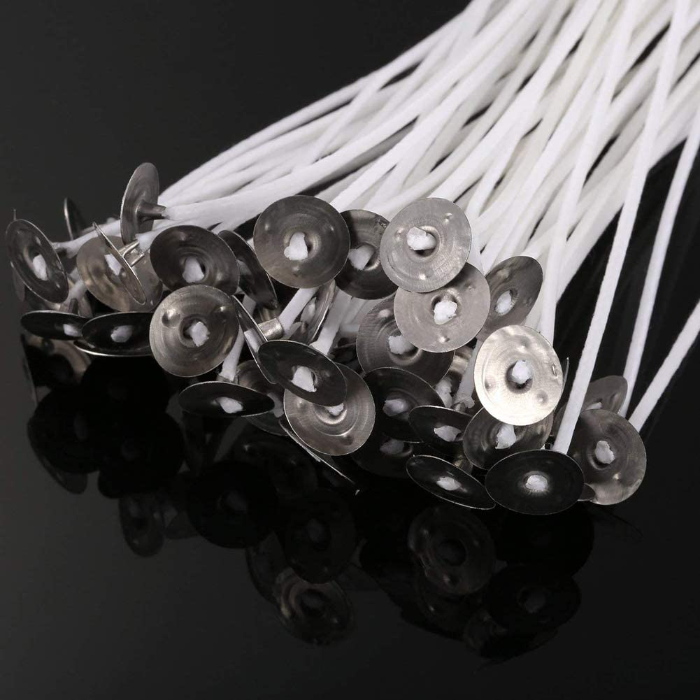 100 Pcs 4.7 Candle Wicks Cotton Core Pre Waxed Wicks for DIY Candle Making Supplies