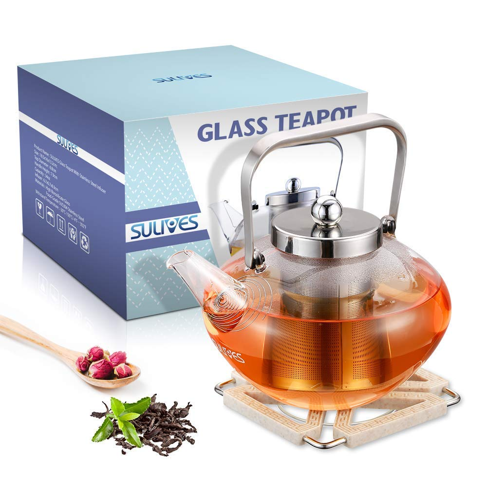 SULIVES Tea Pot Stainless Steel Infuser & Lid, Borosilicate Flower Te Glass Teapot, 34 oz, Clear SULIVES-Glass tea pot