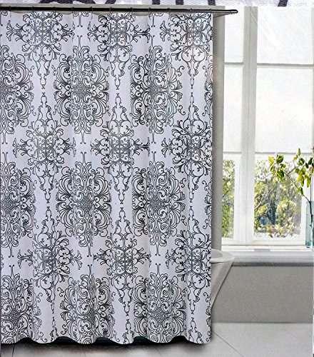 - Tahari Fabric Shower Curtain Gray Medallion Pattern on White Background -- Milan Scroll