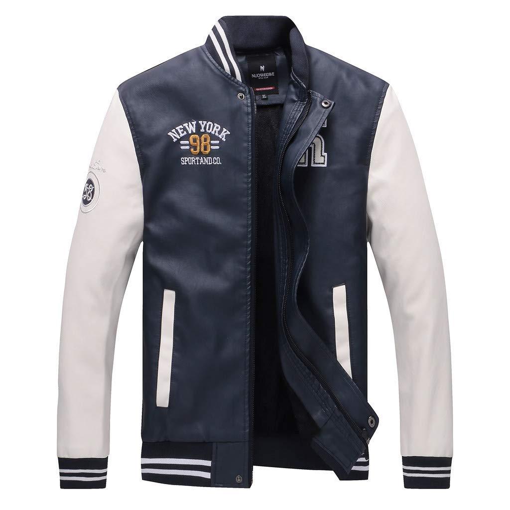 kemilove Men's Faux Leather Jacket Casual Baseball Stand Collar Slim Fit Coat White