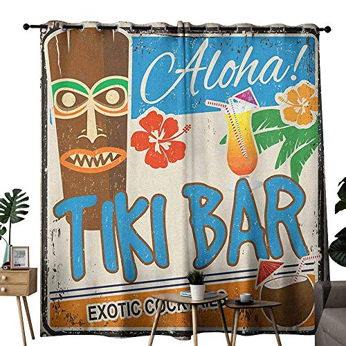 (duommhome Tiki Bar Polyester Curtain Rusty Vintage Sign Aloha Exotic Cocktails and Coconut Drink Antique Nostalgic Noise Reducing W108 x L96 Multicolor)