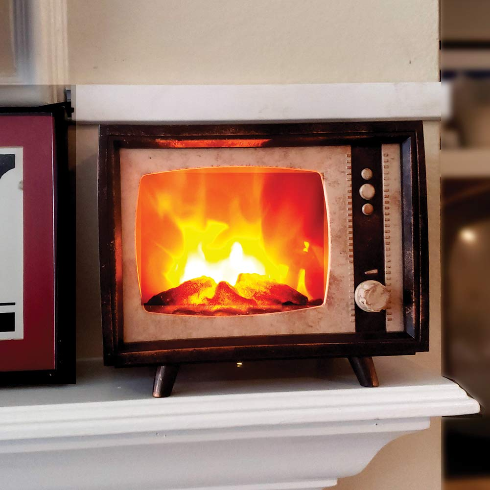 Decorative Realistic Fireplace Compact Retro Television with LED Moving Flame Effect, Hearth-Like-Glow With Electric Fireplace TV Look For Indoors by ELYYT