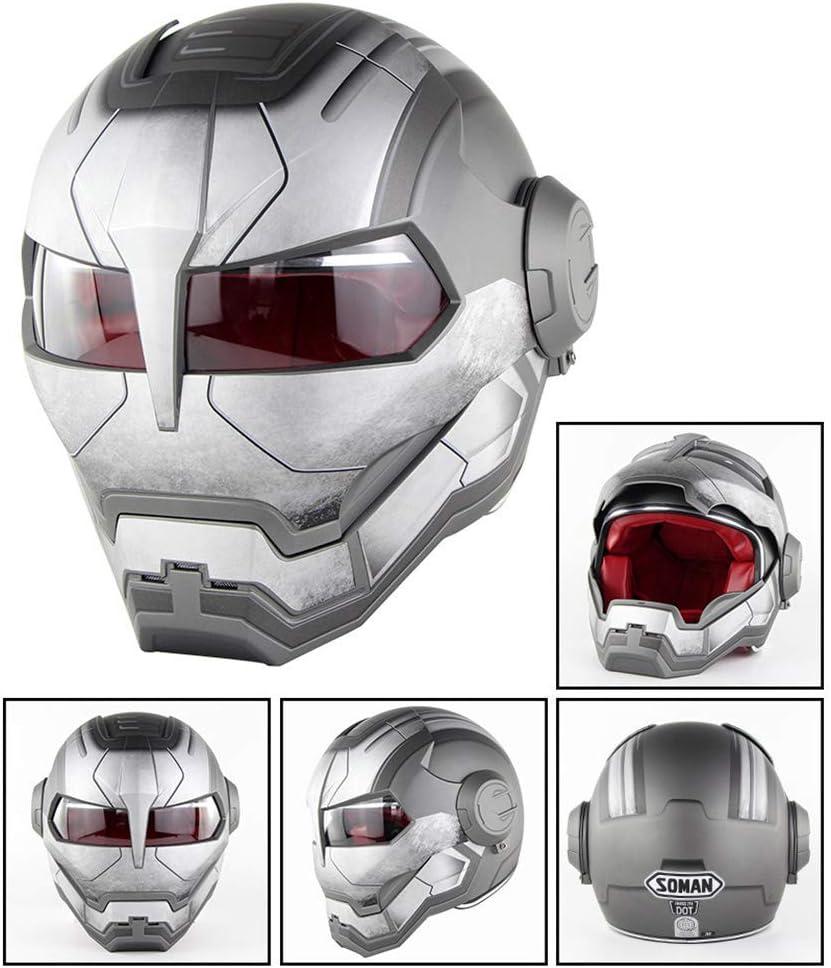 MTCTK Motocicleta Iron Man Completa Cara Casco transformadores Flip up Casco D T Certificado Vintage Moto Casco Integrado O