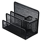 Metal Mesh Multi-Functional 4 Compartments Letter Sorter Organizer Pen Pencil Holder Box Home Office Desktop File Storage Collection,6.85 x 3.46 x 5.16 inch