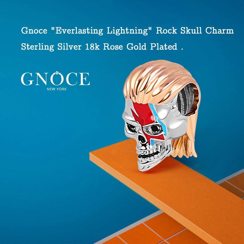 GNOCE Rock Skull Charm Bead Sterling Silver Everlasting Lightning 18k Rose Gold Plated Skull Charm Bead Fit Bracelet//Necklace