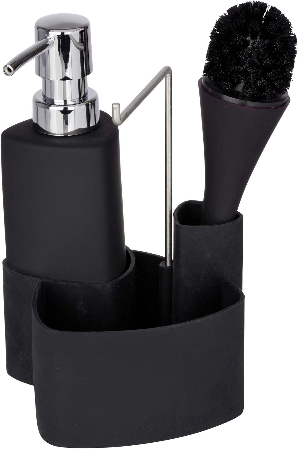 Wenko 3620127100 Conjunto para el Fregadero Empire Negro - con Cepillo, 0.25 L, Cerámica Soft-Touch, 11 x 19 x 12.5 cm, Negro