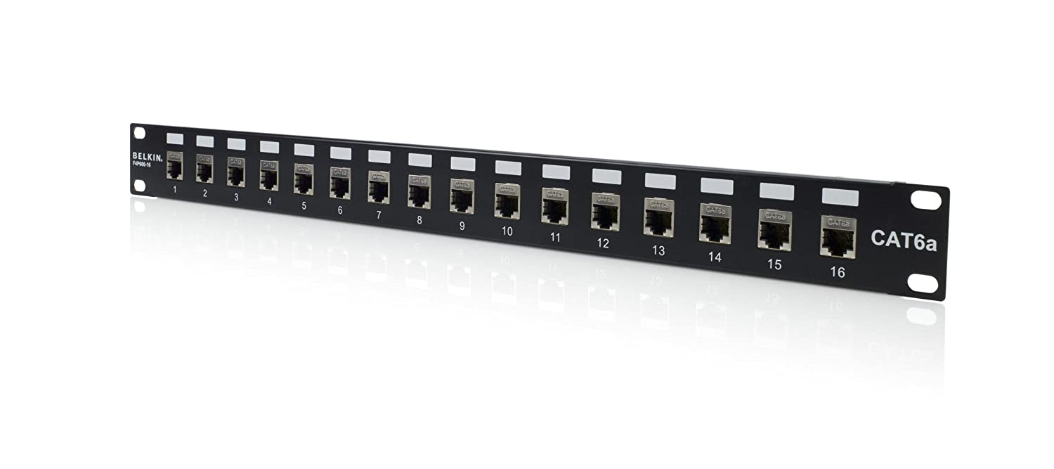 568b Wiring Patch Panel 16port Cat6a Shielded Rackmount Loaded 568a Electronics