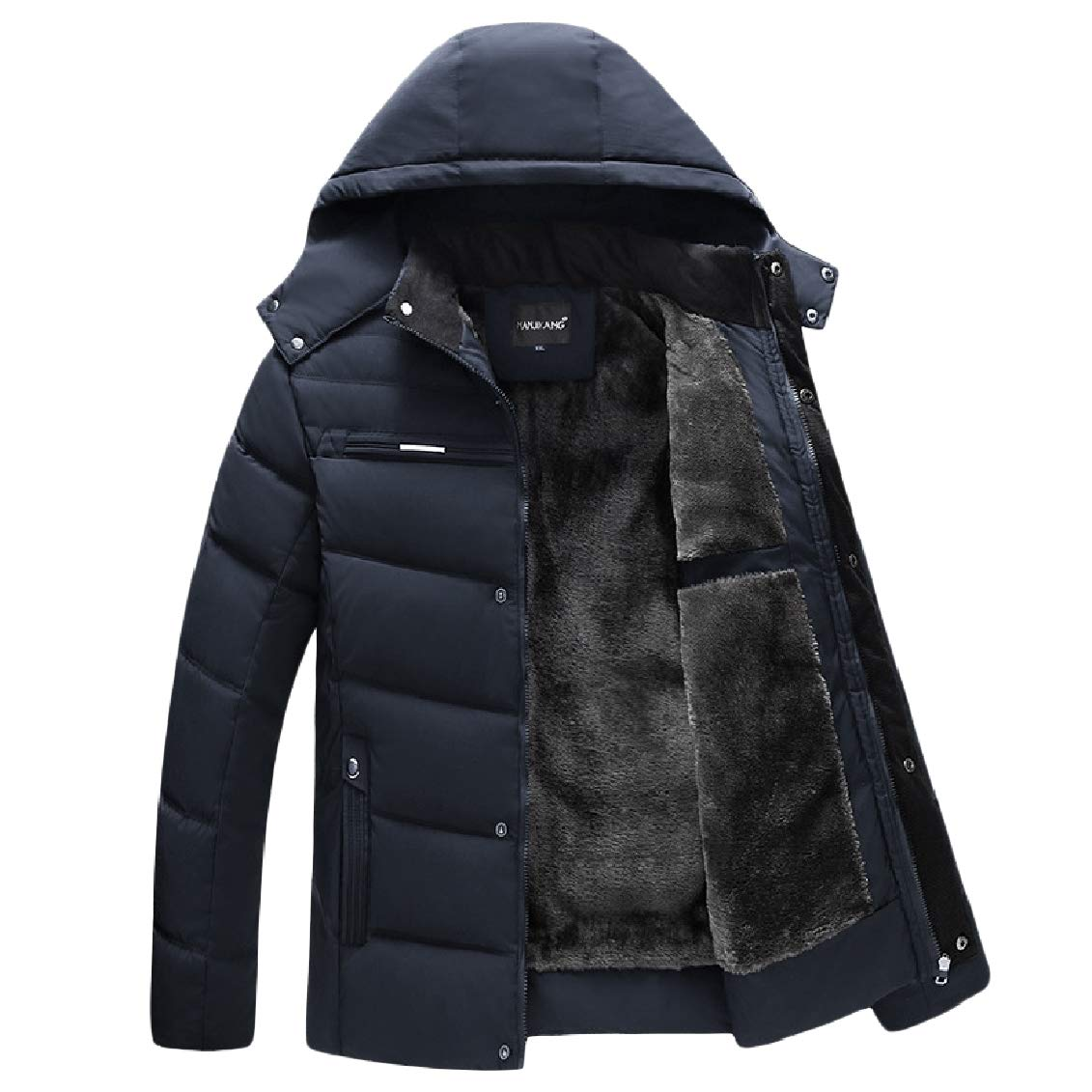 FieerMen Long-Sleeve Zipper Pocket Velvet Hooded Warm Pure Color Down Jackets