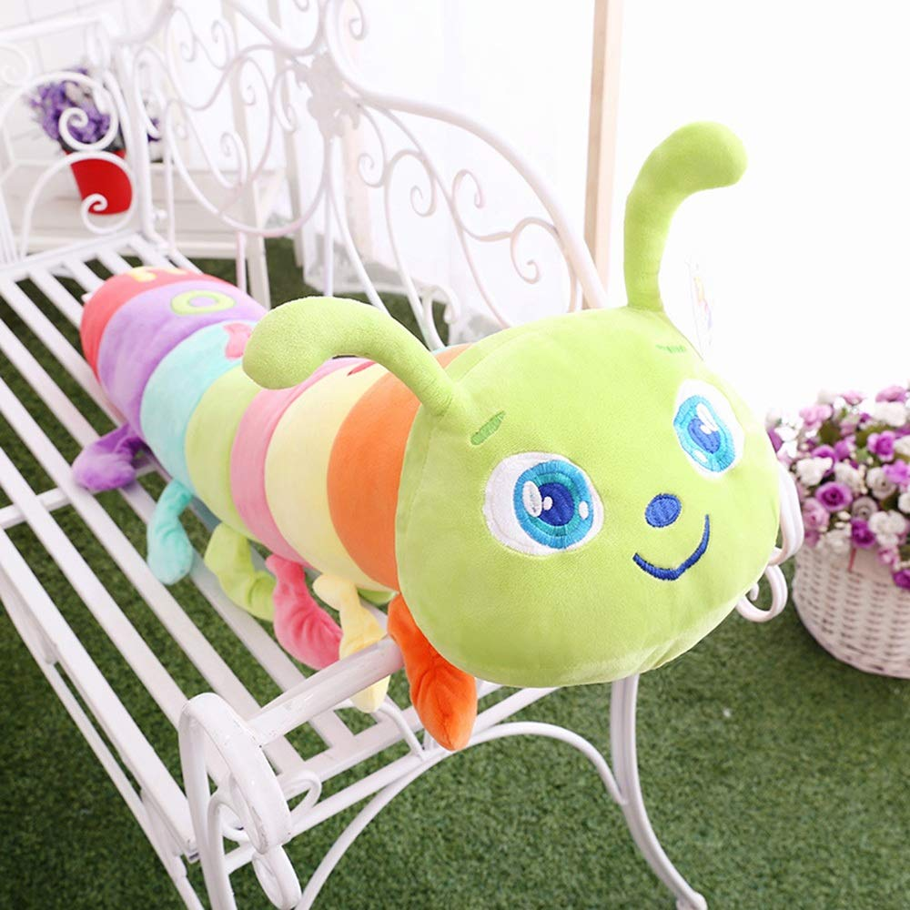 ESTELLEF Colorful Caterpillar Plush Toy Throw Pillow Plush Jumbo Caterpillar Stuffed Animal Decor Pillow Sofa Cushion for Bed Living Room or Kids and Adults (Color : Green, Size : 51.2in) by ESTELLEF