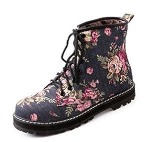 Aisun Women's Stylish Comfy Floral Lace Up Flat Ankle Boots Dark Blue 4 B(M) US