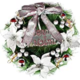 certainPL 12 Inch Christmas Front Door Wreath with Bowknot, Greenery Garland Ornament for Home Office Wall Wedding Decor (Purple)