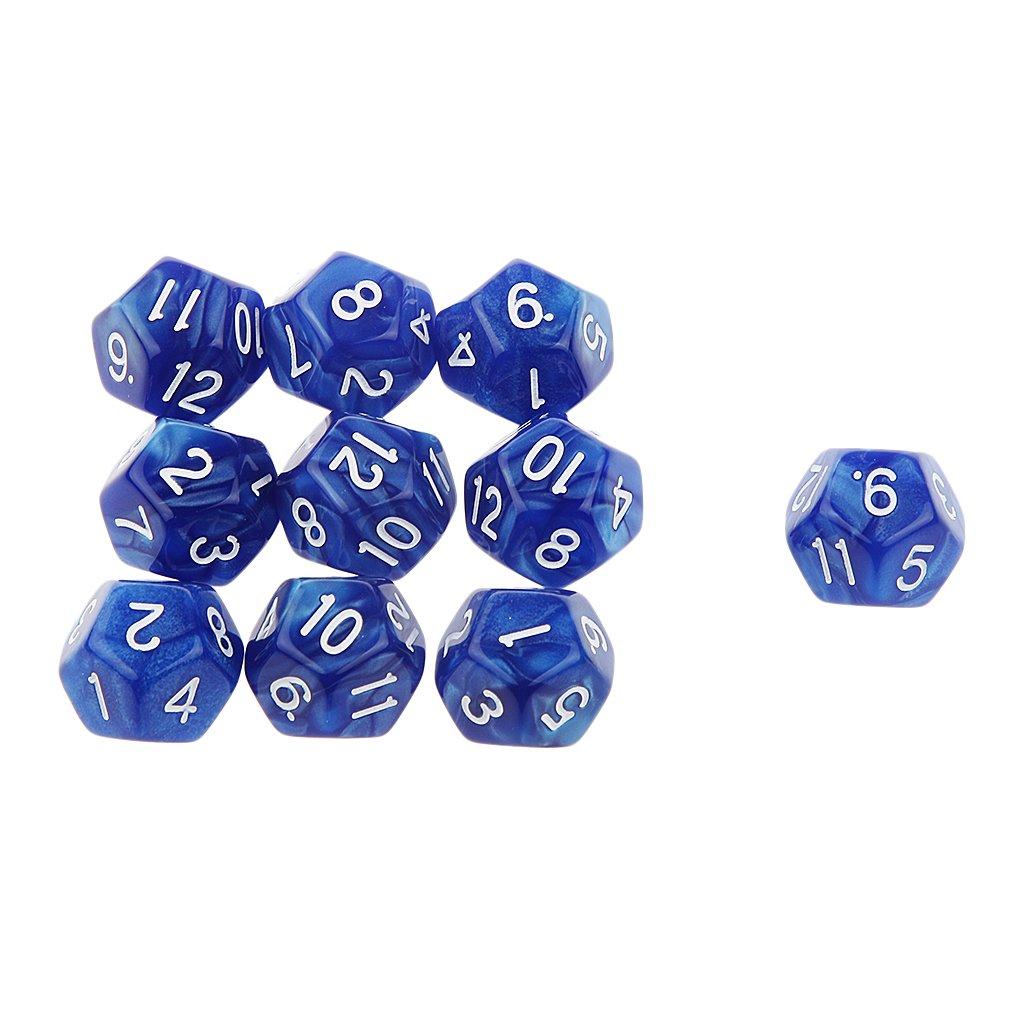 10pcs Juegos de Mesa Dados de Doce Caras D /& D TRPG Padr/ón de Perla Azul