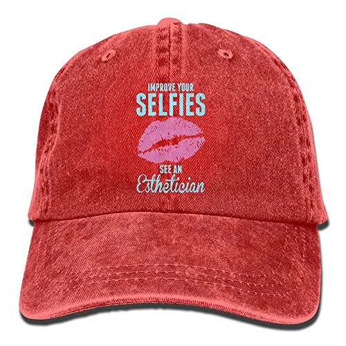 Men's Women's Improve Your Selfies See an Esthetician Cotton Adjustable Peaked Baseball Dyed Cap Adult Washed Cowboy Hat ()