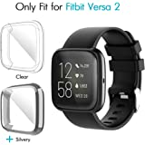 iCoold [2 Pack] Screen Protector Case Design for Fitbit Versa 2, Ultra Slim Soft TPU Full Cover Case All-Around Protective Plated Bumper Shell[Scratch-Proof] for Fitbit Versa 2 (Clear,Silvery)