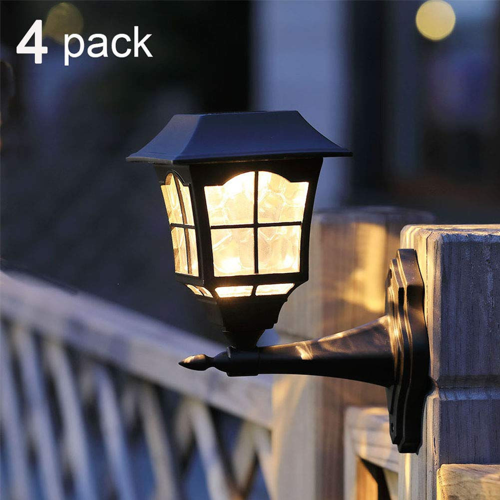 Maggift 6 Lumens Solar Wall Lantern Outdoor Wall Sconce Solar Outdoor Led Light Fixture with Wall Mount Kit, 4 Pack