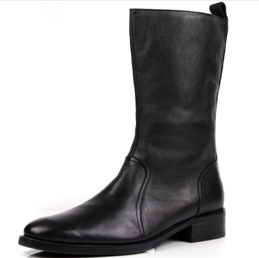 Männer Herbst Winter Hoch Ritter Stiefel Trend Beiläufig Leder Schuhe Niedrig Reißverschluss Schwarz Braun