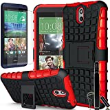 COVRWARE® HTC Desire 610 Case - 3 in 1 Bundle - Heavy Duty Terrapin Series Armor Protective Case [Kickstand] [HD Film & Aluminum Stylus Pen] - Red