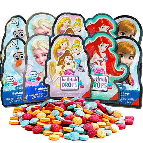 Disney Princess Frozen Color Bath Drops for Kids Super Set for Girls Kids -- 80 Bath Tablets (10 Individually Wrapped Packs)