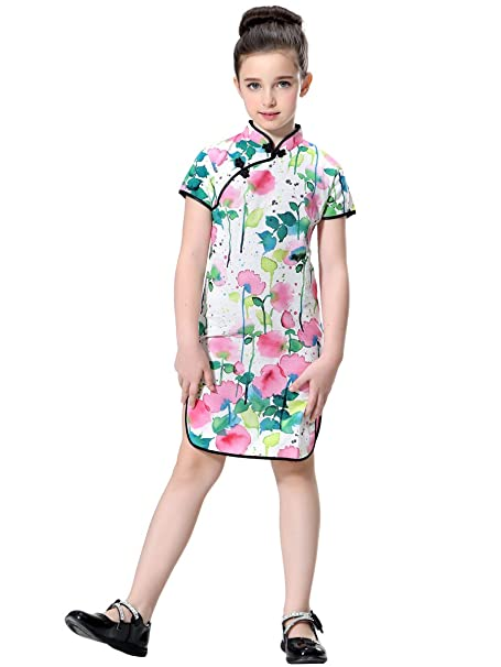 eb72bc003 Bitablue Girls Impressionist Watercolor Flowers Cotton/Linen Chinese Qipao  (2T)