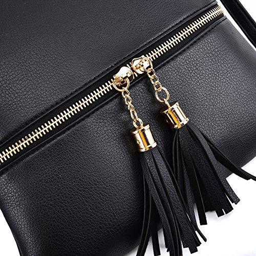 GLITZALL Lightweight Medium Crossbody Bag with Tassel and Zipper Pocket (Black)