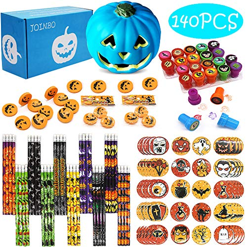 JoinBo140PCS 20 Pack Halloween Stationery Party Supplies Gift Sets Suitable for Halloween Classroom Exchange Parties and Teal Pumpkin Project