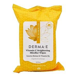 Derma E Vitamin C Brightening Glow Micellar Wipes 30 Pre-Moistened Biodegradable Wipes