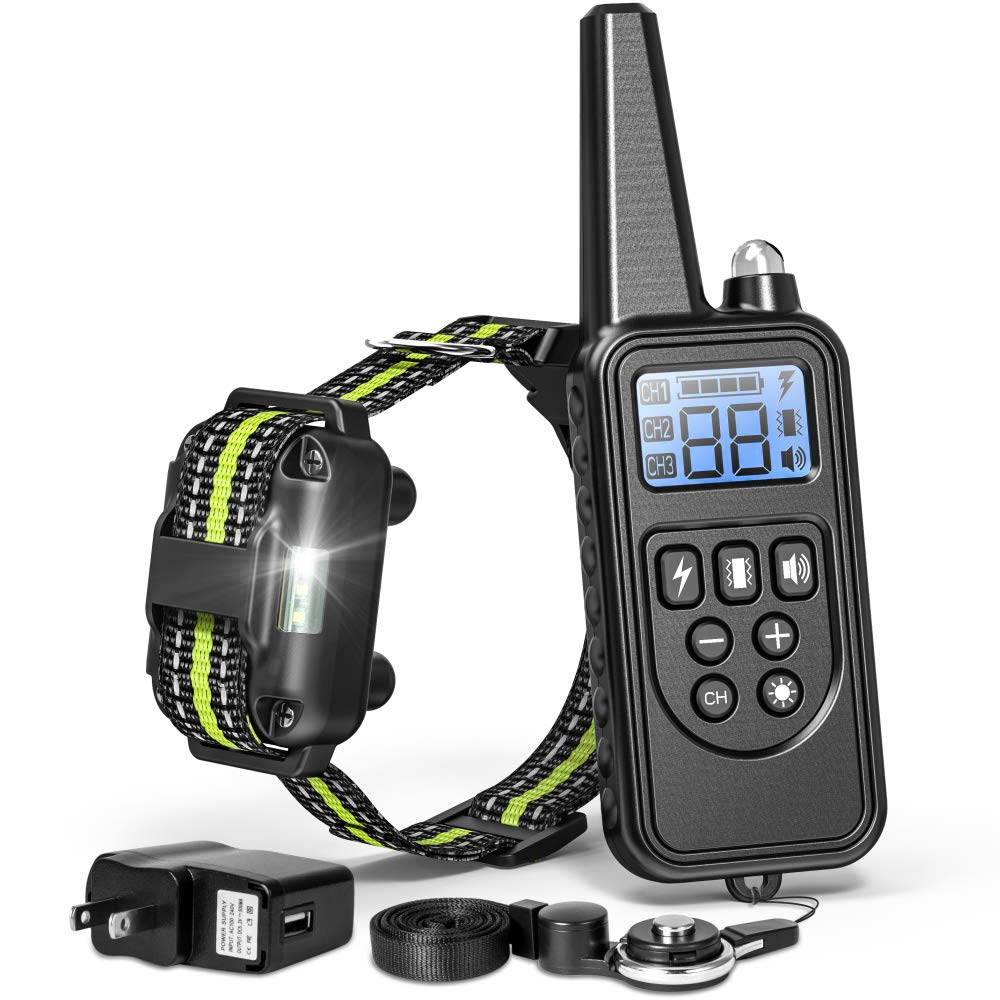 FunniPets Dog Training Collar 2600ft Range Dog Shock Collar with Remote Waterproof Electronic Dog Collar for Medium and Large Breed Dogs with 4 Training Modes Light Shock Vibration Beep